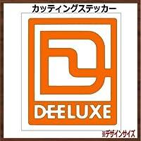 【枠ロゴ】DEELUXE ディーラックス カッティングステッカー (オレンジ, 縦8x横7cm 2枚組)