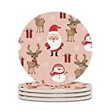 KittyliNO5 Posavasos redondos, Navidad, Papá Noel, ciervo, alce, muñeco de nieve, juego de 4/6 posavasos de cerámica con base de corcho, cumpleaños, inauguración de la casa, color blanco, 6 unidades