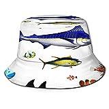 Sombrero Pescador Unisex,Acuario diferentes especies de peces en pose pez espada pez payaso,Plegable Sombrero de Pesca Aire Libre Sombrero Bucket Hat para Excursionismo Cámping De Viaje Pescar
