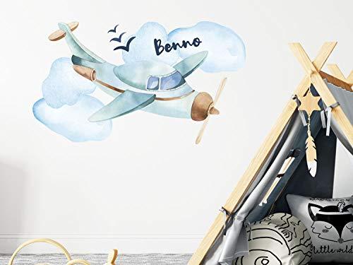 GrazDesign Muurtattoo Jongennaam, vliegtuig, kinderkamer - babykamer, gepersonaliseerd cadeau, aquarel kleuren 99x57cm