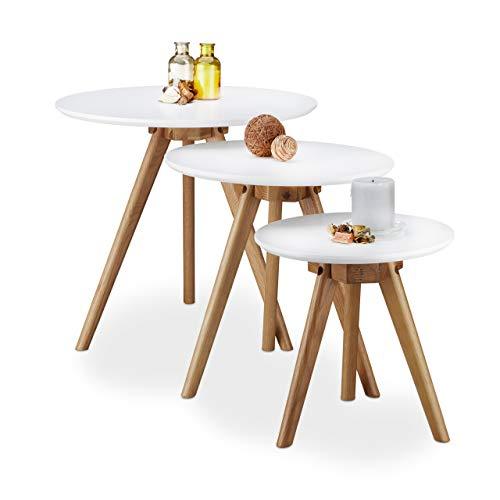 Relaxdays Beistelltisch 3er Set, lackiertes Eichen-Holz, weiße Tischplatte 50, 40 und 32 cm, im nordischen Design, weiß/Natur