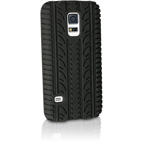 igadgitz U3306 Nero Pneumatico Silicone Gel Gomma Custodia Compatibile con Samsung Galaxy S5 Mini SM-G800F Protettiva Case Cover + Pellicola