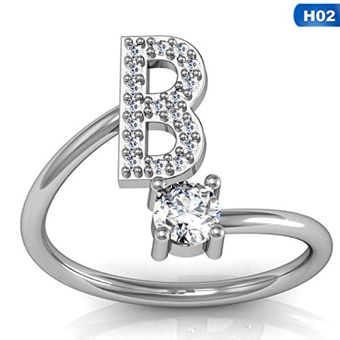農民ネックレット踊り子ファッション26文字シルバーリング用女性ラインストーンオープン指輪女性の婚約指輪ジュエリーアネルパーティーギフト