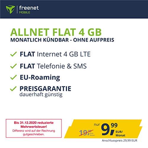 freenetMobile Handyvertrag D-Netz Allnet Flat 4 GB - Internet Flat, Allnet Flat Telefonie & SMS in alle Deutschen Netze, EU-Roaming, monatlich kündbar