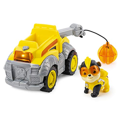 PAW PATROL 6054835 Rubble's Vehicle with Lights and, Mighty Pups Super Paws Rubbles Deluxe Fahrzeug mit Licht und Sound, Mehrfarbig