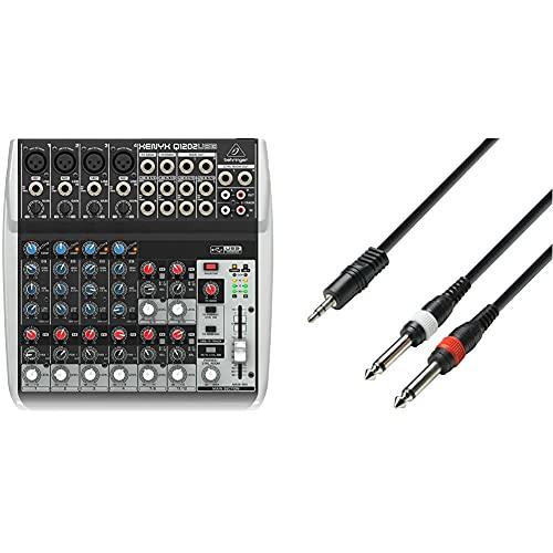 Behringer Q1202USB Xenyx Premium 12 Kanal 2-Bus Mixer mit Mic Preamps/Kompressoren/British EQs Und USB/Audio Interface & Adam Hall Cables Audiokabel 3,5mm Klinke stereo auf 2 x 6,3mm Klinke mono 3m