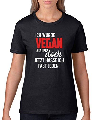 Comedy Shirts - Ich wurde vegan aus Liebe, doch jetzt Hasse ich Fast jeden! - Damen T-Shirt - Schwarz/Weiss-Rot Gr. XXL