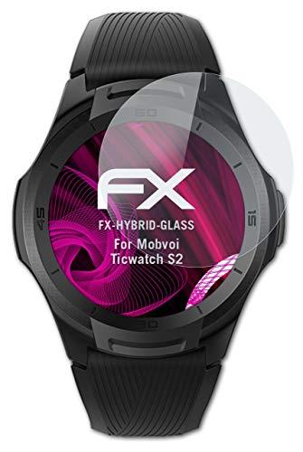 atFoliX Glasfolie kompatibel mit Mobvoi Ticwatch S2 Panzerfolie, 9H Hybrid-Glass FX Schutzpanzer Folie