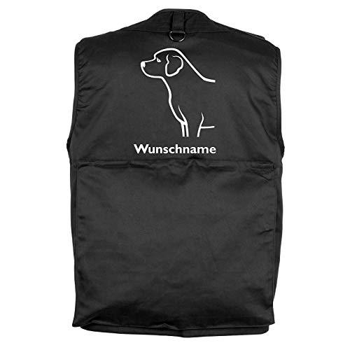 Tierisch-tolle Geschenke Labrador Retriever - Hundesportweste Hundeführerweste mit Rückentasche und Namen M (Motiv 3)
