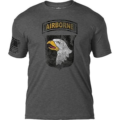 7.62 Design Army 101stAirborne Division 'Distressed' Patriotic Men's T Shirt,Heather Dark Charcoal,X-Large
