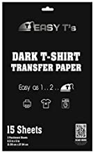 Easy T's Iron On Heat Transfer Paper for Dark Fabric T Shirts - 15 Sheets of Premium 8.5