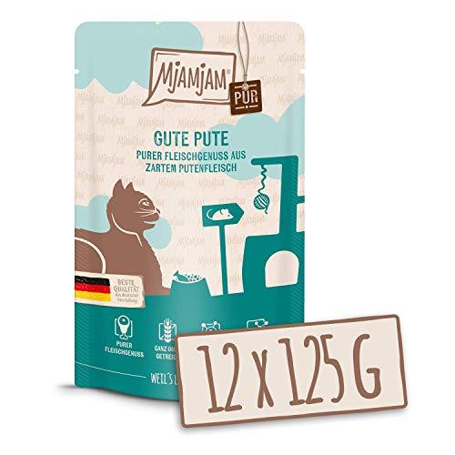 MjAMjAM - Premium Nassfutter für Katzen - Quetschie - purer Fleischgenuss - gute Pute pur, 12er Pack (12 x 125 g), getreidefrei mit extra viel Fleisch