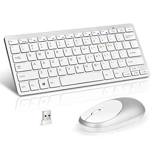 Loreran Ultra-Thin 2.4G Wireless Keyboard and Mouse Combo Chiclet Keyboard with Scissor Mechanism Keycap and Nano Receiver for PC Laptop Computer Smart TV Tablet, Black
