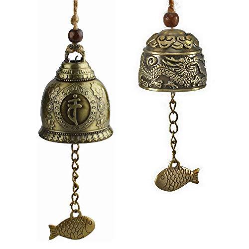 2 Stücke Fengshui Glocke, Chinesische Antike Klangspiele Windspiele, Vintage Dragon Bell, Chinesische Buddhistische Klangspiele Windspiele, Fengshui Windspiele für Hausgarten Hängen Glück Segen