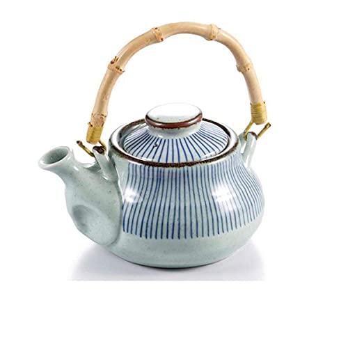 AWJ Cerámica Tetera pequeña Tetera de cerámica de Alta Capacidad Teteras con Mango de bambú de Estilo Coreano Kung Fu Tetera de Restaurante japonés Tetera de Porcelana B (Color: A, Tamaño: OneSi