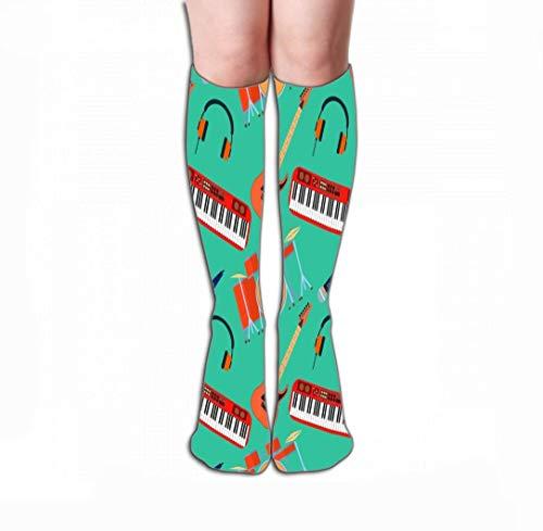 JAONGSADY Men Women Outdoor Sports High Socks Stocking musical Instruments gitaar synthesizer drum microfoon hoofdtelefoon band plat desig musical Instruments Tile lengte 19,7