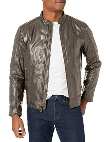 Cole Haan Men's Washed Leather Moto Jacket, Grey, Large