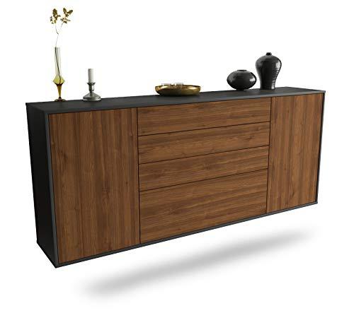 Dekati Sideboard Alexandria hängend (180x77x35cm) Korpus anthrazit matt | Front Holz-Design Walnuss | Push-to-Open | Leichtlaufschienen
