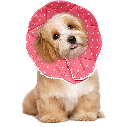 Meiso, collare per cani e gatti, resistente ai graffi, resistente all'acqua, facile da pulire e pulire, con cinghie regolabili per cani e gatti (rosa, S)