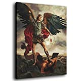 HFGJ St Michael The Archangel in Battle Poster Decorative Painting Canvas Wall Art Living Room Posters Bedroom Painting 08×12inch(20×30cm)