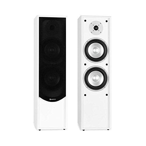 auna - Linie-300-WH, Standlautsprecher, Standboxen, Lautsprecher-Boxen, HiFi-Standboxen, 2-Wege-Lautsprecher, 80 Watt RMS Leistung, Bassreflex für druckvollen Klang, weiß