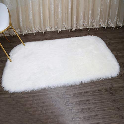 m·kvfa Soft Rug Chair Cover Artificial Sheepskin Wool Warm Hairy Carpet Seat Mats Rug Cushion Pad Carpet for Dining Living Room Bedroom (M)