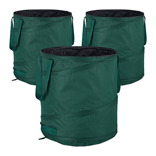 Relaxdays, grün Laubsack selbstaufstellend, 3er-Set, Gartenabfallsack Pop-Up, 85L, Gartensack selbststehend, ∅: 46 cm