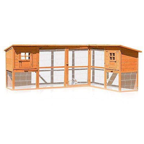 Melko Hasenstall XXL Kleintierhaus mit Freilaufgehege, ca. 251 x 190,5 x 104 cm, aus Holz, Inkl. 2 Rampen