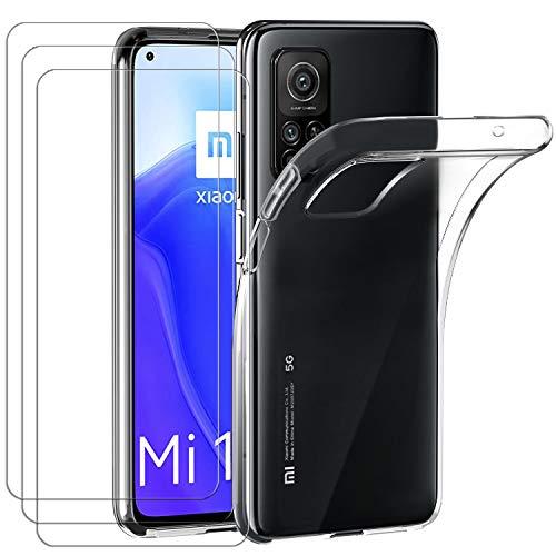 ivoler Hülle für Xiaomi Mi 10T 5G / Xiaomi Mi 10T Pro 5G, mit 3 Stück Panzerglas Schutzfolie, Dünne Weiche TPU Silikon Transparent Stoßfest Schutzhülle Durchsichtige Handyhülle Kratzfest Hülle