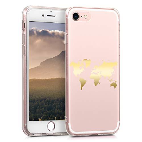 kwmobile Cover Compatibile con Apple iPhone 7 8   SE (2020) - Back Case Custodia Posteriore in Silicone TPU Cover per Smartphone - Back Cover Contorni Oro Rosa Trasparente