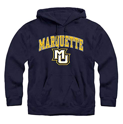 Campus Colors NCAA Adult Arch & Logo Gameday Hooded Sweatshirt (Marquette Golden Eagles - Navy, Medium)