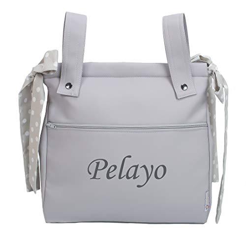Bolso panera o talega para carrito de bebé personalizado con el nombre bordado. Modelo Harper (Gris)