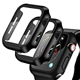[2 Pack] Compatible for Apple Watch 40mm Series6/5/4/SE Tempered Glass Screen Protector with Hard Black Case, YMHML Full Coverage Easy Installation Bubble-Free Cover for iWatch Accessories