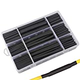 280pcs 3:1 Dual Wall Adhesive Heat Shrink Tubing Kit, 5 Sizes (Diameter): 3/8, 1/4, 3/16, 1/8, 3/32-inch, Marine Cable Wire Sleeve Tube Wrap Assortment with Storage Case for DIY by MILAPEAK (Black)