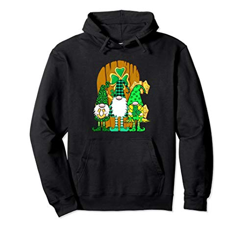 3 langbeinige irische Gnome Green Plaid Gnome Tür Pullover Hoodie