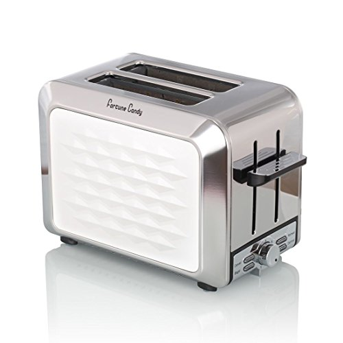 Slice Toaster, 2-Slice Extra-Wide Slot Toaster for Bafel Breakfast with Defrost Reheat 7-Shade Control, White