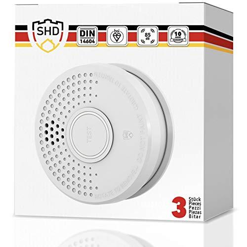 Rauchmelder 3er Set mit 10 Jahre Garantie inkl. 3X 9V Batterie geprüft nach DIN EN14604 und BSI Zertifiziert - 3 Stück Rauchwarnmelder Feuermelder Brandmelder Feueralarm …