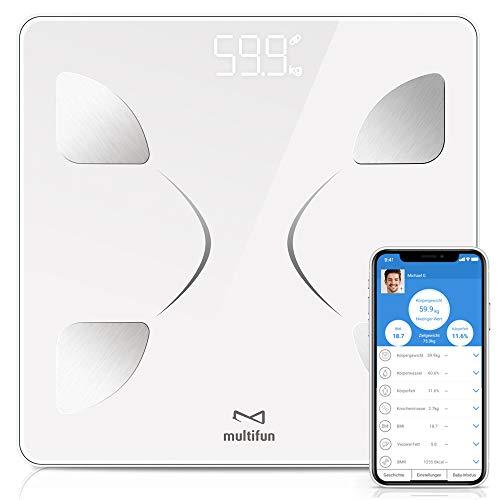 Körperfettwaage,Multifun Personenwaage mit App,Bluetooth Körperanalysewaage,digital Körperwaage 14 Fitness Daten,Waage mit Körperfett,Körperwaage aus gehärtetem Glas,für iOS&Android, max 180kg