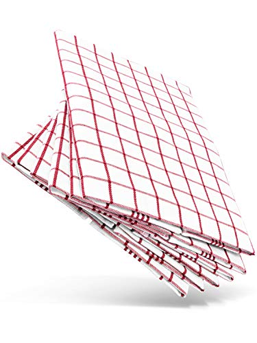 WoldoClean Geschirrtücher aus 100% Baumwolle 6 Stück rot - saugstark und fusselfrei