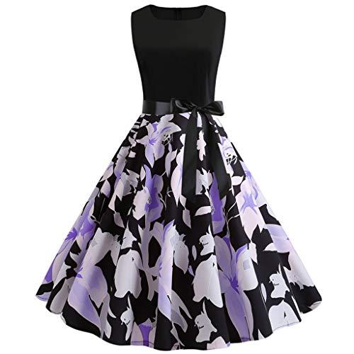 Neun Vintage Kleid, Yesmile 1950er Jahre Kleider Damen Schwarz Kappen Hülse Retro Vintage Sommerkleid Sexy Party Elegante Kleider KleidRundhals Abendkleid Prom Swing Kleid