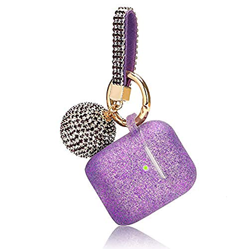 Airpod Case, Filoto Airpods Case Cover for Apple Airpods 2&1 Charging Case, Air Pods Protective Silicone Case Skin with Glitter Disco Ball Keychain, Scratch Proof and Drop Proof (Glittery Purple)