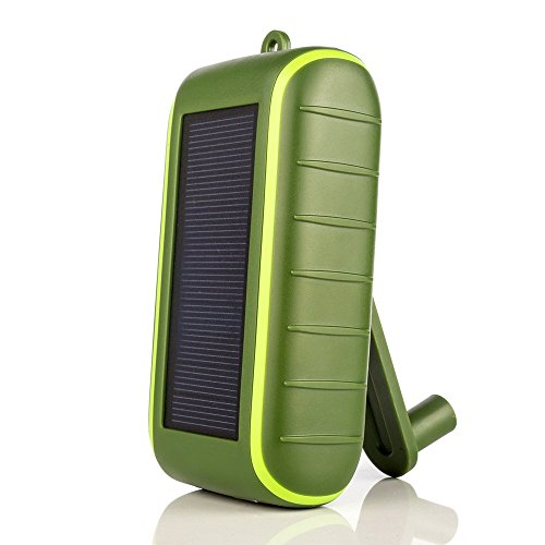 Solar Charger Hand-Crank Portable, 10000 mAh Solar Power Charger, 2020 Edition, Dual USB Output , LED Flashlight, 3 Power Modes, Mobile Phone Charger Waterproof for Indoor Outdoor (Army Green)