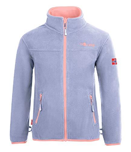 Trollkids Mädchen Oppdal XT Fleece Jacke, Lavender/Aprikose, Größe 128
