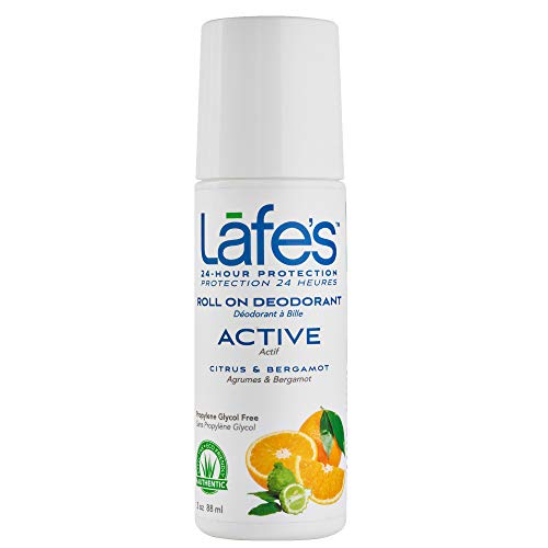 Lafe's Natural Body Care | Active - Citrus & Bergamot - Roll-On Deodorant | 24-Hour Protection & All Natural (3 oz)