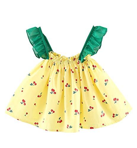 FCQNY Infant Kid Girl Summer Summer Cherry Dress Strap Mini Jupe sans Manches de Princesse (Color : Yellow, Size : 80)