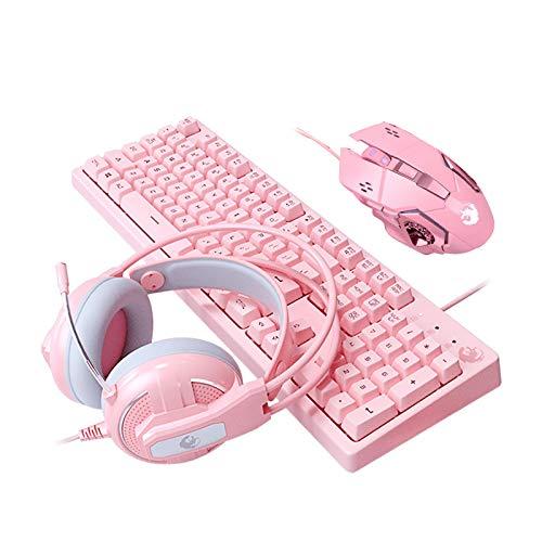R1vceixowwi Juego de teclado y ratón inalámbrico USB, teclado inalámbrico con ratón de 2,4 GHz, batería de larga duración, para PC, escritorio, portátil, portátil, color rosa