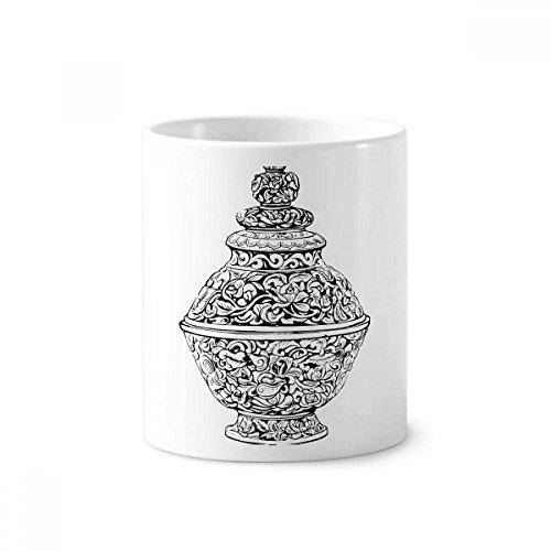DIYthinker Chinese Cultuur Qing Dynastie Vaas Lijn Keramische Tandenborstel Pen Houder Mok Wit Cup 350ml Gift 9,6 cm hoog x 8,2 cm diameter