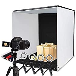 SAMTIAN photo studio 60x60x60cm, foldable photo box light tent with 4 ring lights, 5 tripods and 4 colored backgrounds (red, black, white, blue)