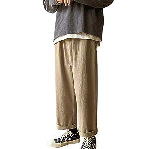Habor メンズ サルエルパンツ ガウチョパンツ ワイドパンツ カジュアルパンツ ロングパンツ ジョガーパンツ 九分丈 ゴム紐付き M