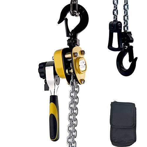 Chain Hoist Mini Puller 550 Lbs 1/4 Ton 5 FT Lift G80 Chain Ratchet Hoist with Hook Portable Workshop Building Treedeng